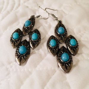 Turquoise and Silver colored earrings
